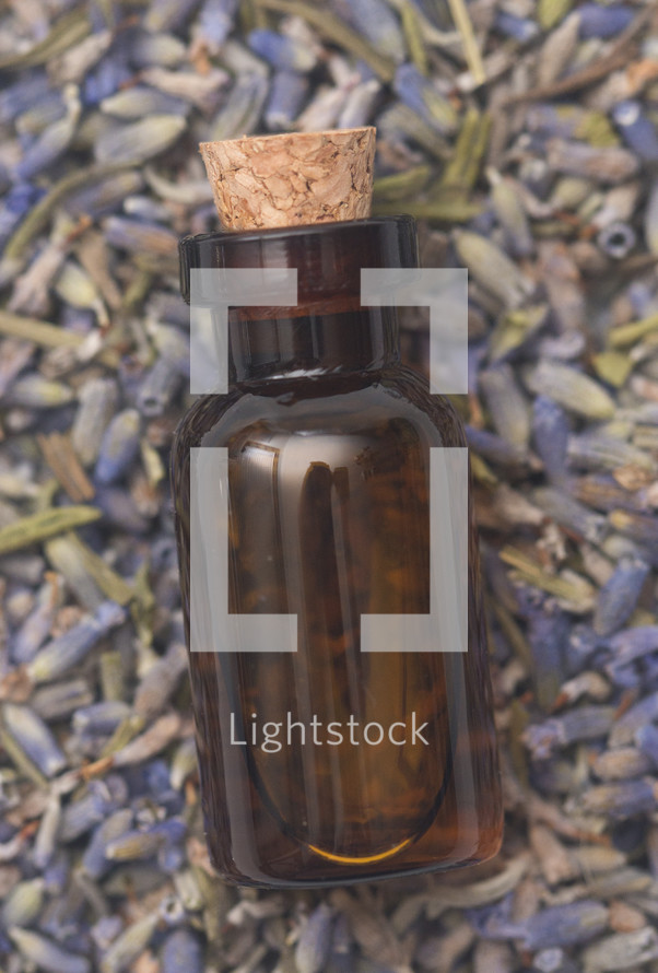 lavender Essential Oil in a Rustic Corked Bottle