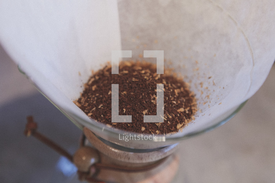 Coffee grounds in a chemex