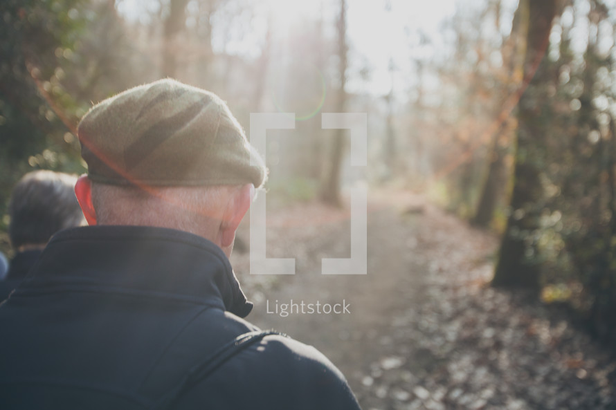 couple hiking on a nature trail