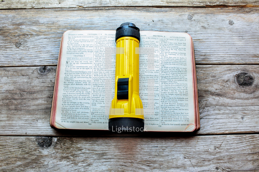 flashlight on the pages of a Bible