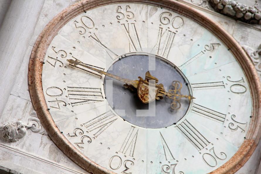 Vintage clock with Roman numerals.