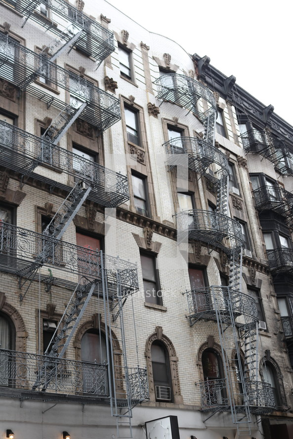 fire escapes on the side of a building