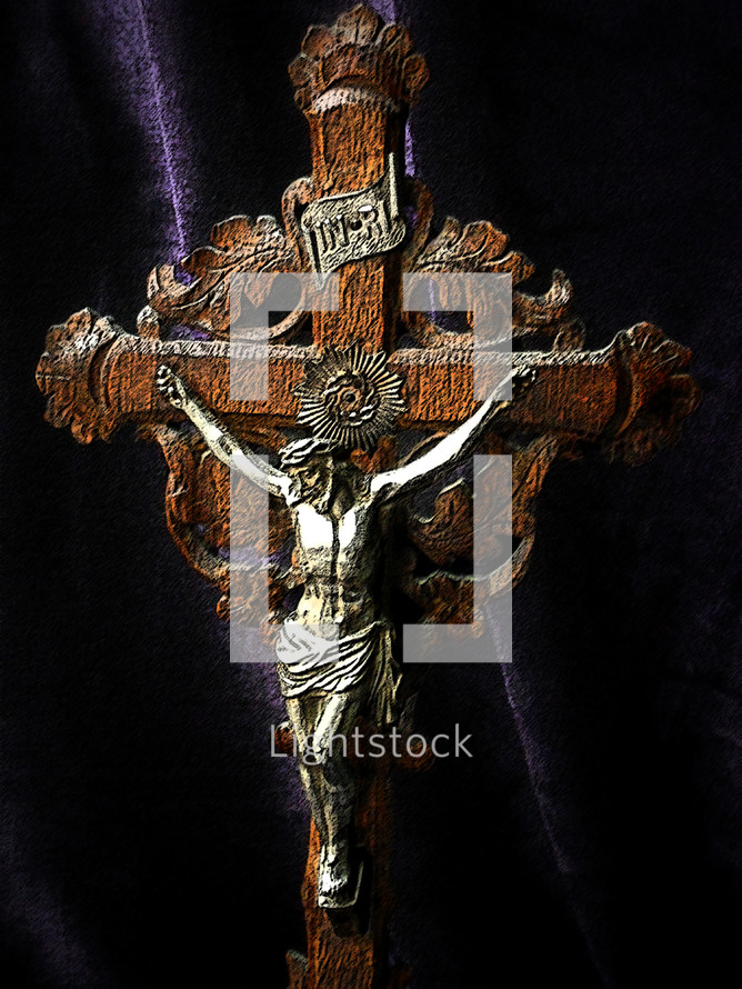 Antique hand-carved crucifix, circa 1900.