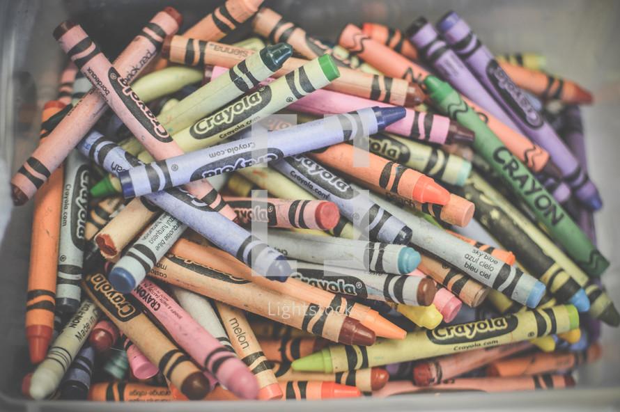 bucket of crayons