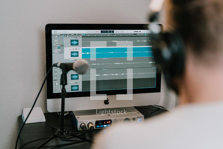 a man recording audio