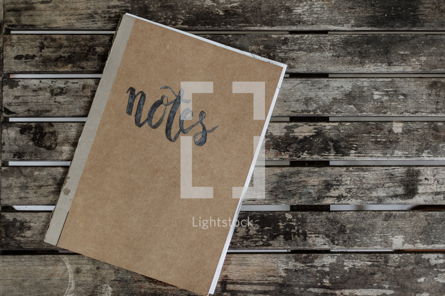 word notes on a notebook cover