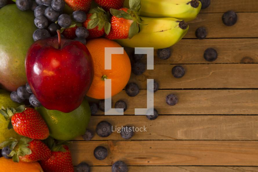 fruit on wood background