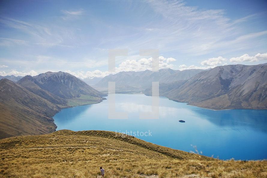 a lake surrounded by mountains