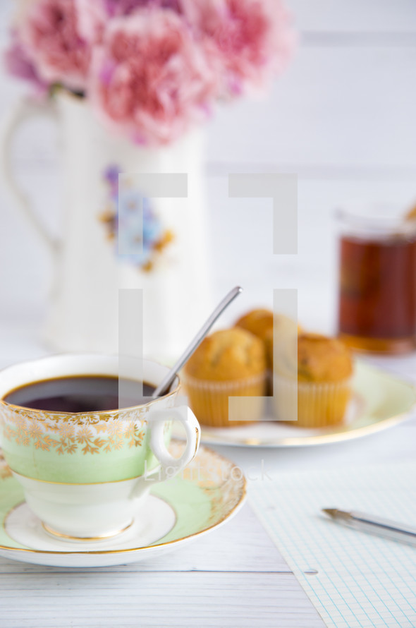 tea cup and muffins