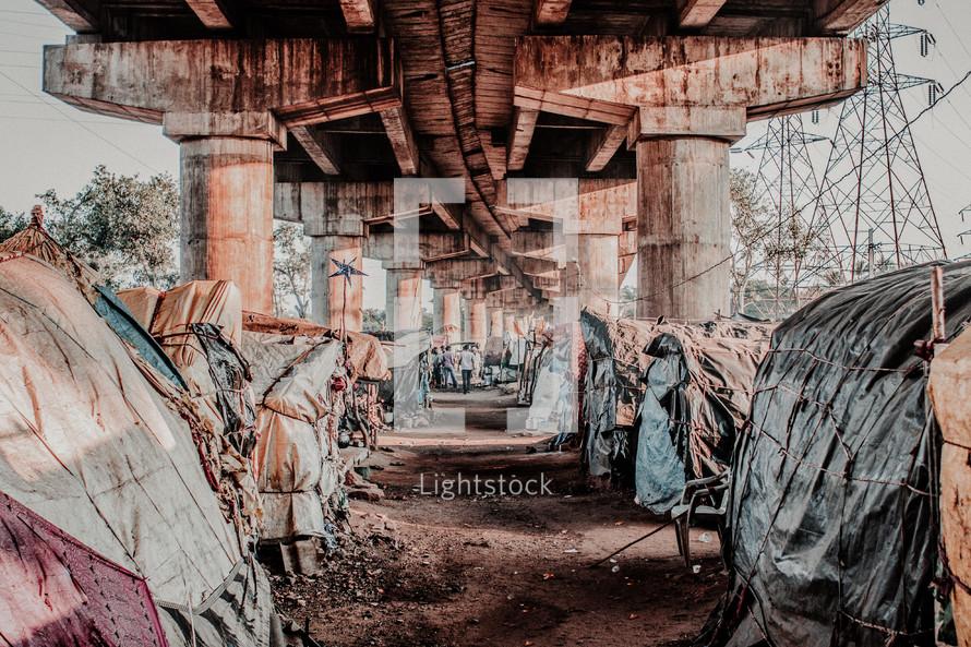 homeless camp under an overpass