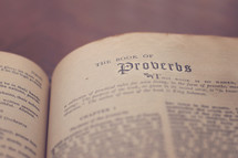 A Bible open to the Book of Proverbs.