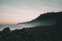 steam along a rocky shore