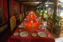set table at a tropical resort