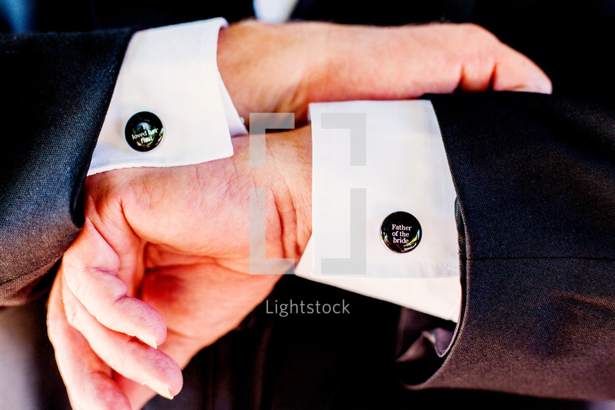 Father of the bride Man with cuff links that say I LOVED HER FIRST wedding