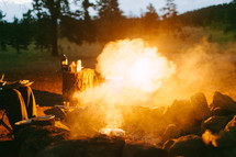 flames and smoke from a campfire