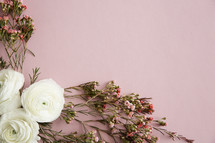 white and pink flowers in corner