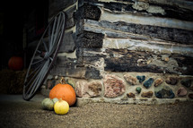 Pumpkin and gourds in front of a stone brick wall with wooden planks. A wagon wheel sits behind it.