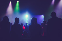 silhouettes of people at a concert