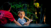 children playing baseball