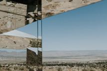 desert reflection in mirror glass