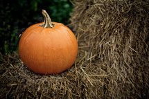 A single orange pumpkin sits on a bale of hay.