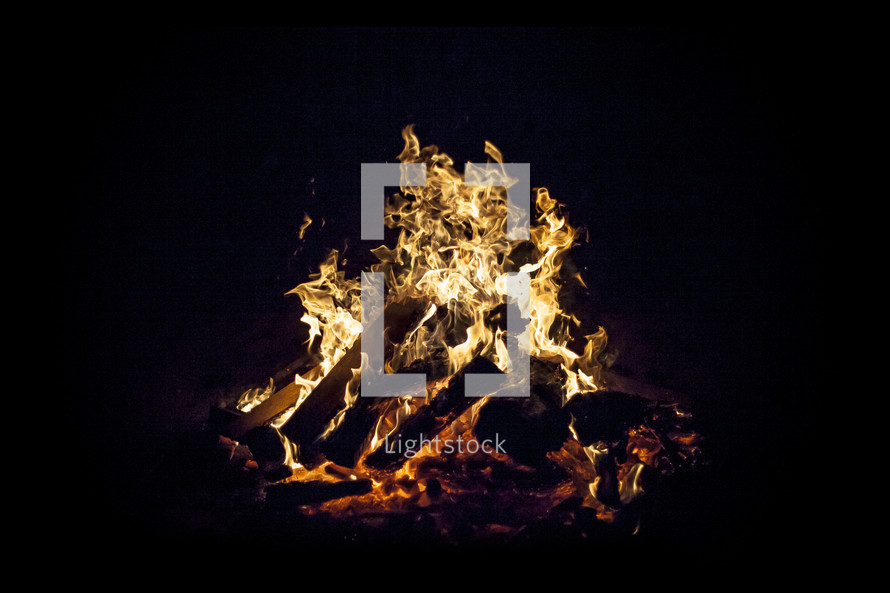 flames from a bonfire