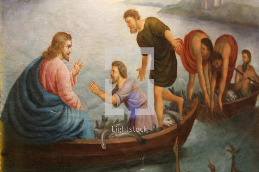 Jesus in boats with fishermen
