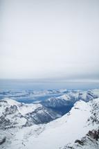 snow on mountain peaks in Switzerland
