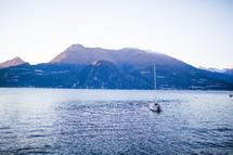 a boat in lake Como