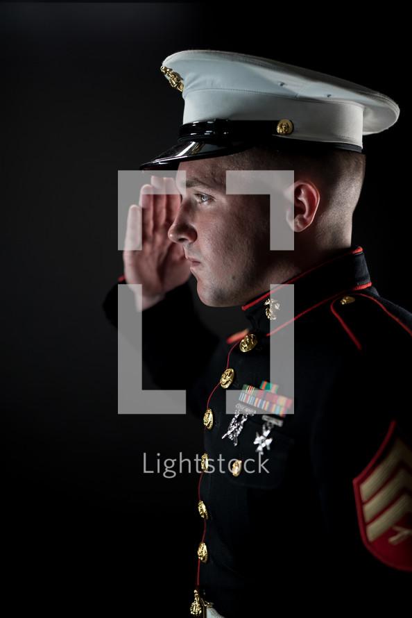 a Marine saluting