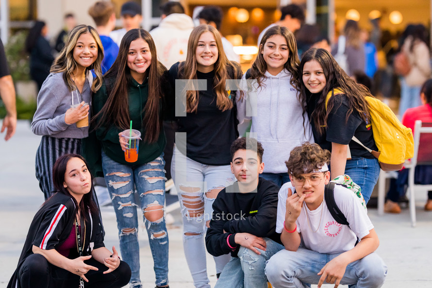 teens posing for a group picture