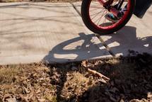 kid riding a bicycle on a sidewalk
