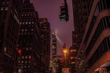 city buildings at night in NYC
