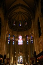 stained glass windows and cathedral altar