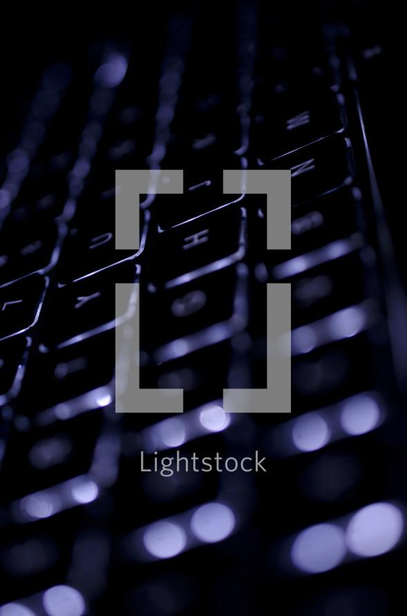 Illuminated computer keyboard.