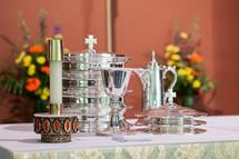 Communion elements on an altar