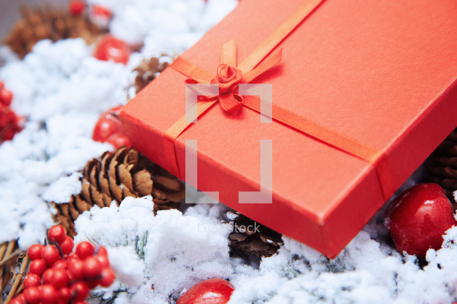red gift on a Christmas wreath