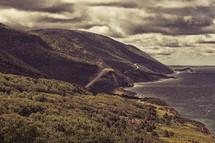 winding road along a mountainous shore