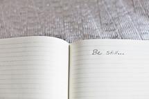 words be still written in a journal