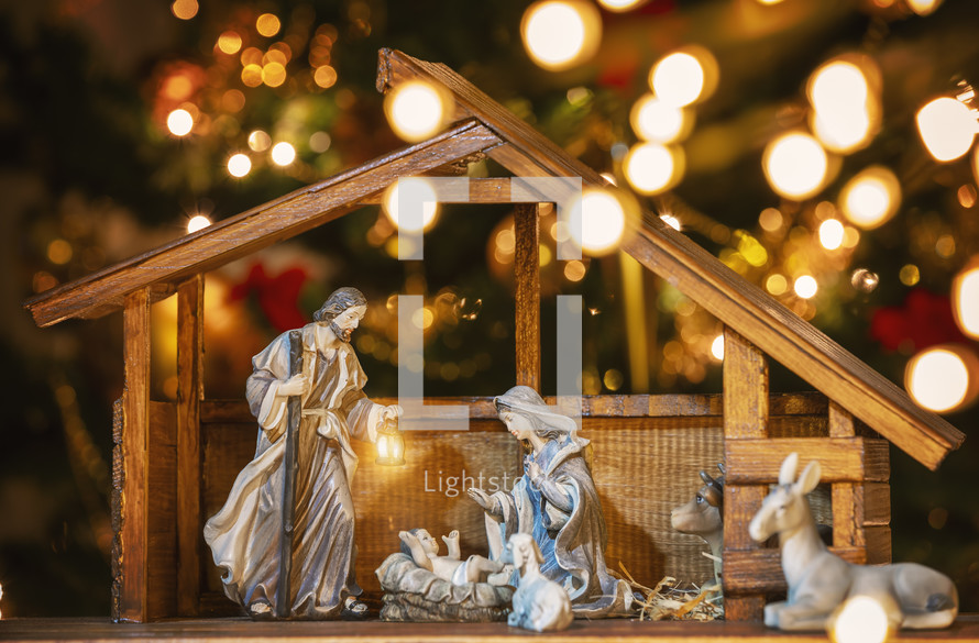 Nativity scene and Christmas lights