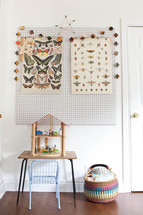 butterfies and bugs posters over a desk