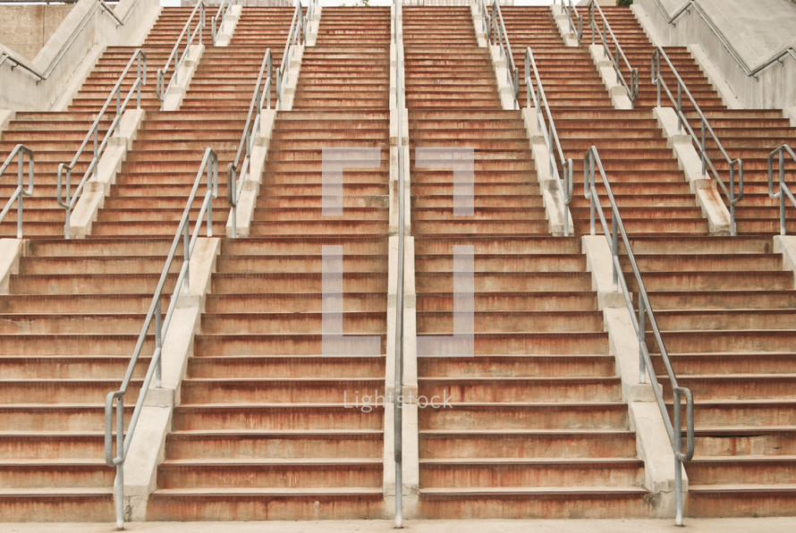 Flights of outdoor stairs.
