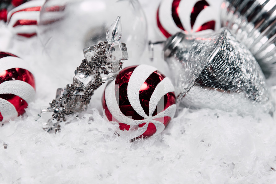 peppermint and silver ornaments