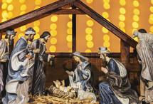 Nativity scene and Christmas lights