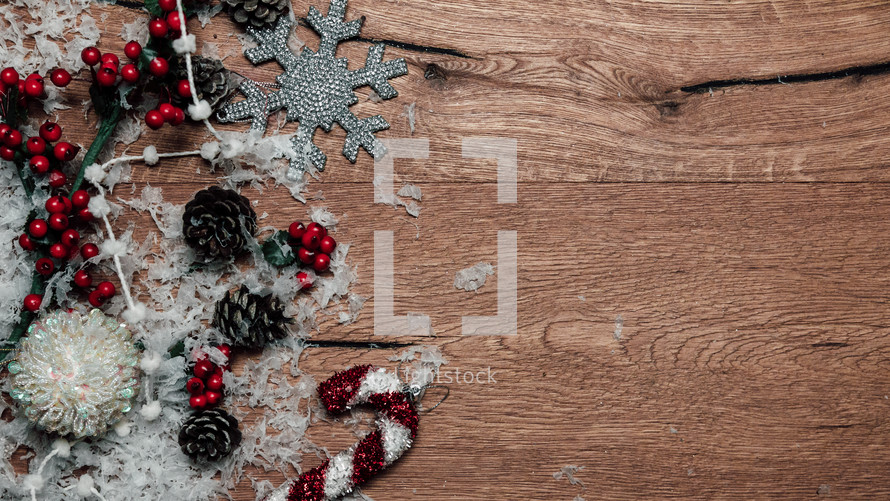 Christmas ornaments on a wood background