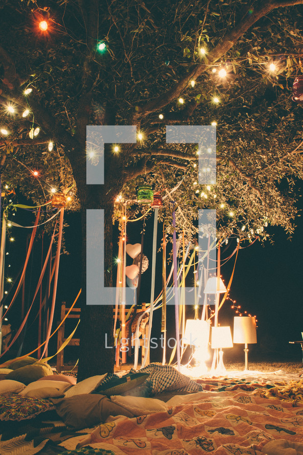 ribbons and lights hanging from a tree and blankets on the ground for a party