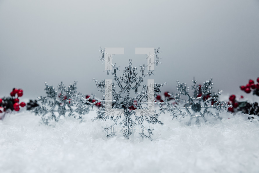 Christmas decor with silver snowflakes