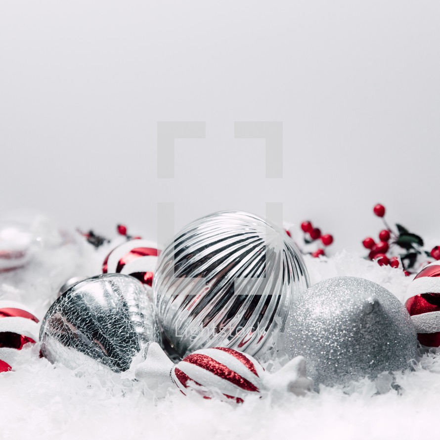 silver and red and white ornaments