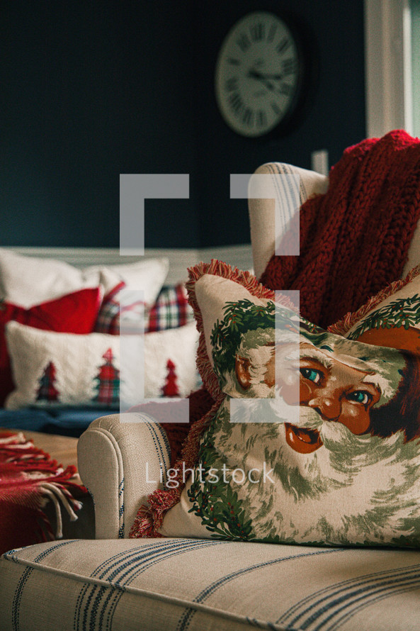 throw pillow on a couch at Christmas