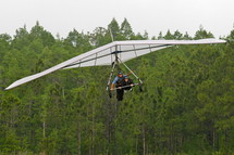 Hang glider in flight above a forest